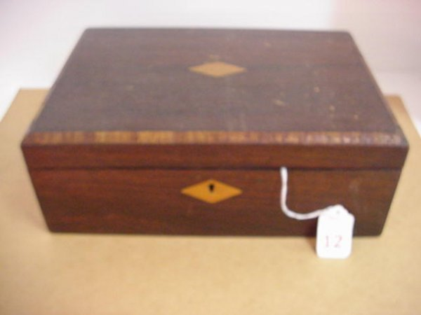 12: Walnut 19th C. Locking Lap Desk and Letter Box