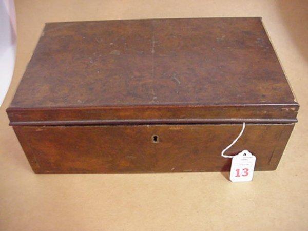 13: Victorian Walnut Burl Handkerchief Box with Hankies