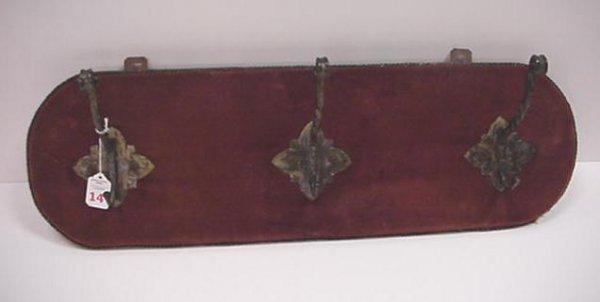 14: Velvet Covered Wooden 3 Hook Vintage Hat Rack