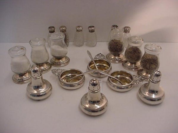 20: Sterling and Glass Salts with Spoons and Shakers