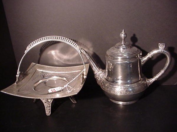 22: Victorian Silverplate Cake Basket and Teapot