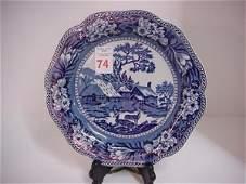 74 Wedgwood Flow Blue Fallow Deer Plate