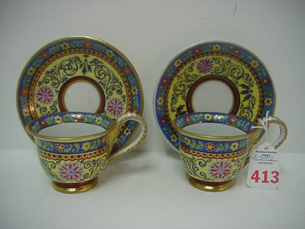 413: Dresden Marked Handpainted Cups and Saucers: