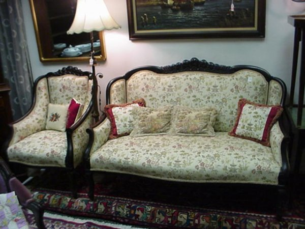 417B: 19th C. Mahogany Framed Settee and 2 Armchairs: