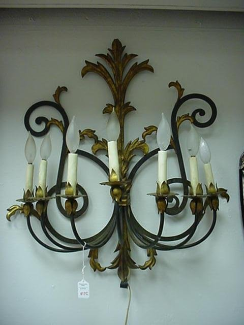 417C: 7 Arm Italian Metal Black and Gold Electric Sconc