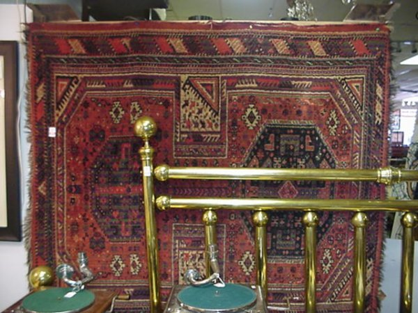 418: Antique Handloomed All Wool Persian Area Rug: