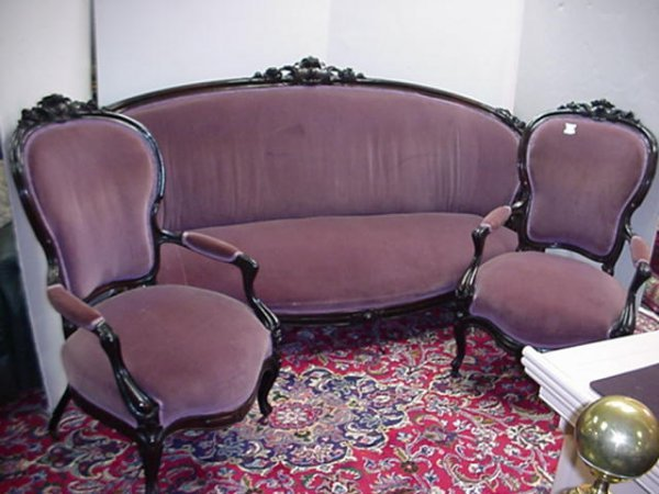 419: Carved Rosewood 3 Piece Lavender Parlor Suite: