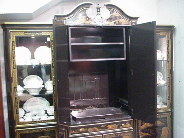 536B: 3 Section Henredon Black Lacquer Oriental Cabinet - 3