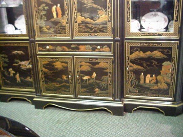 536B: 3 Section Henredon Black Lacquer Oriental Cabinet - 4