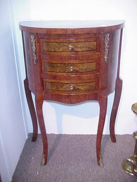 1551: 3 Drawer Bowfront Egyptian Table: