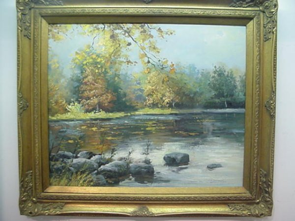 1552: Picturesque Riverscape Oil on Board: