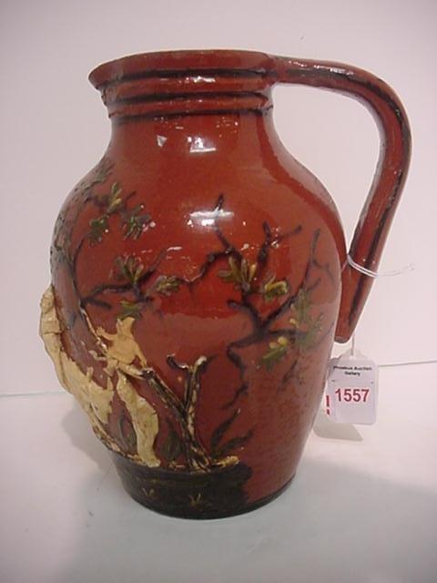1557: Redware Jug with Slipglaze Decoration: