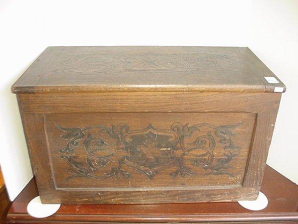 1561: Carved Front Vintage Oak Trunk: