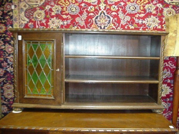 1562: Mixed Wood 3 Shelf Bookcase and Bar Cabinet: