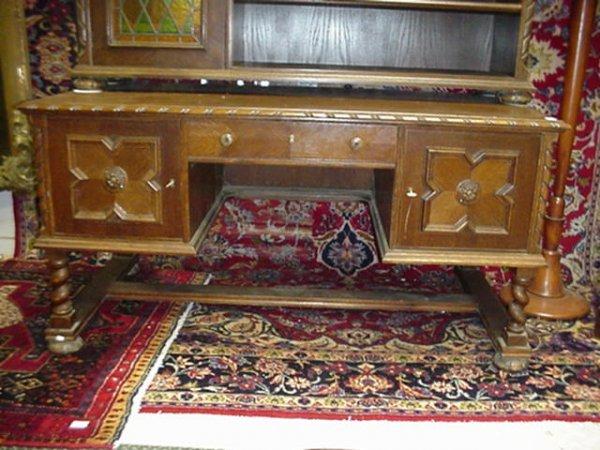 1563: Double Door, Single Drawer Mixed Wood Desk: