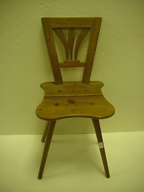 1564: 18thC Handmade German Pine Side Chair: