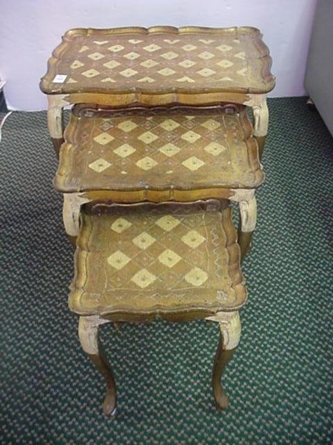 1569: Set of 3 Nested Gold Decorated Tables: