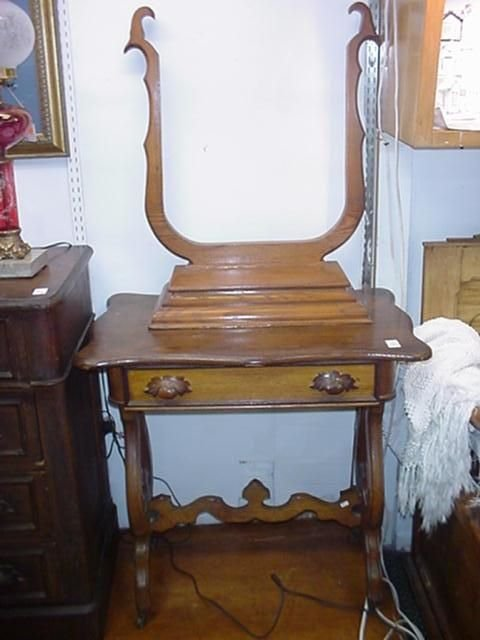 1569D: Golden Oak Single Drawer Victorian Table with Mi