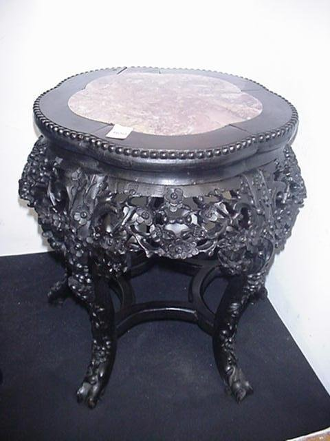 1650: Marble Top Floral Pierced Wooden Asian Table: