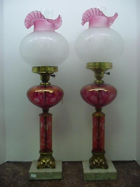 1696: Pair of Cranberry Glass Etched Lamps with Globes: