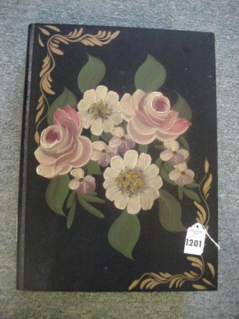 Floral Tole Painted Black Wooden Box: