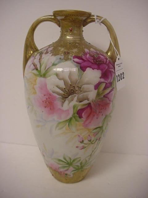 Handpainted Nippon Double Handle Floral Vase:
