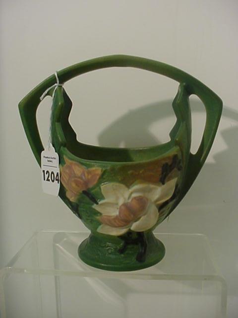 Roseville Handpainted Magnolia 383 Basket Vase:
