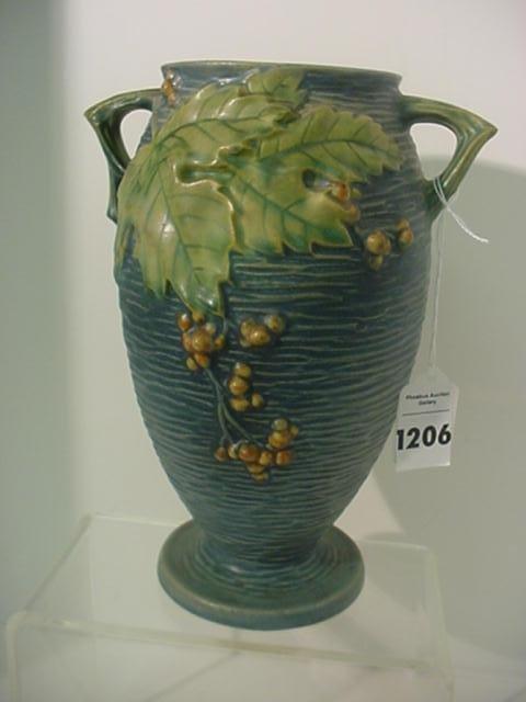 Roseville Bushberry 35 Blue Double Handle Vase: