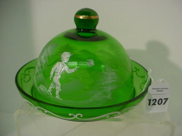 Green Mary Gregory Covered Butter Dish: