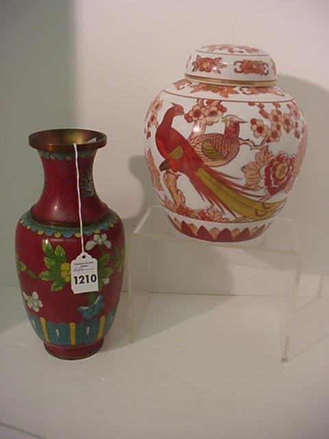 Copper Enamel Cloisonné Vase and Imari Ginger Jar: