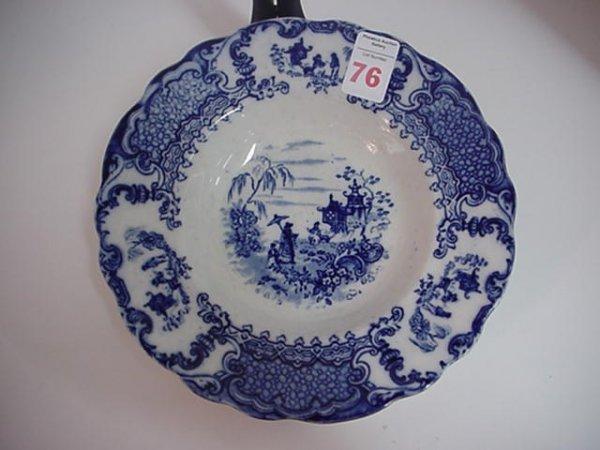 Upper Hanley Pottery Flow Blue Geisha Bowl: