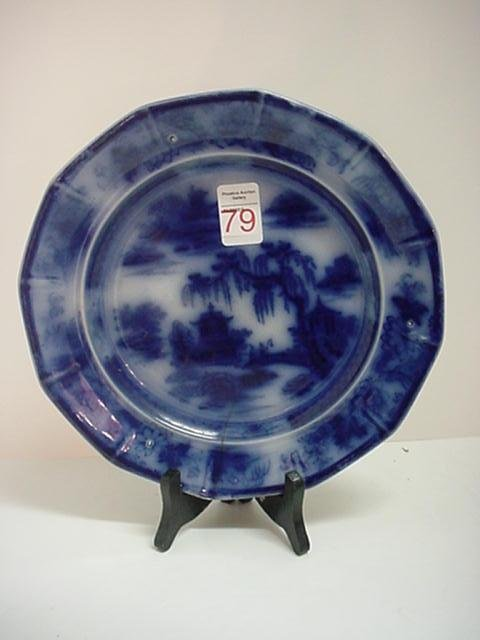 19th C. PW & Co. Manila Flow Blue Plate: