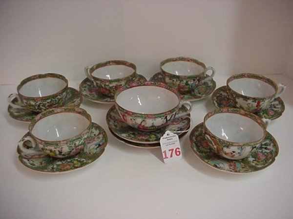 Late 19th C. Rose Medallion Cups and Saucers: