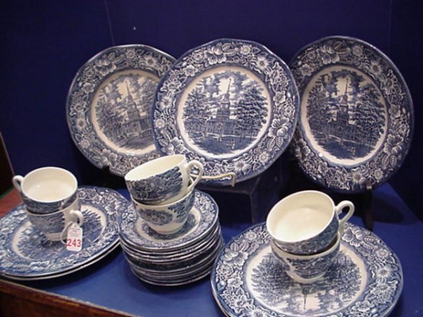 Liberty Blue English Transferware Plates and Cups: