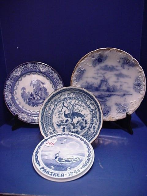 Flow Blue and Oriental Plates and Danish Wall Plaque:
