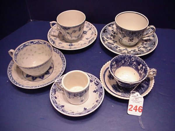 5 Assorted Blue and White Cups and Saucers: