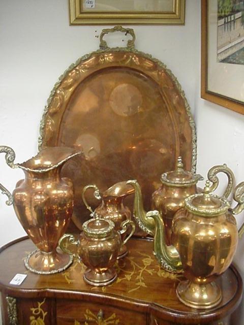8 Piece Copper and Brass Coffee, Tea Set: