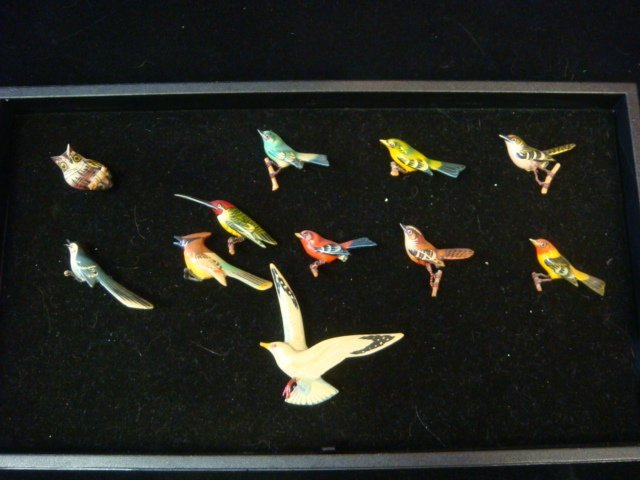 Eight Hand carved TAKAHASHI Bird Pins: