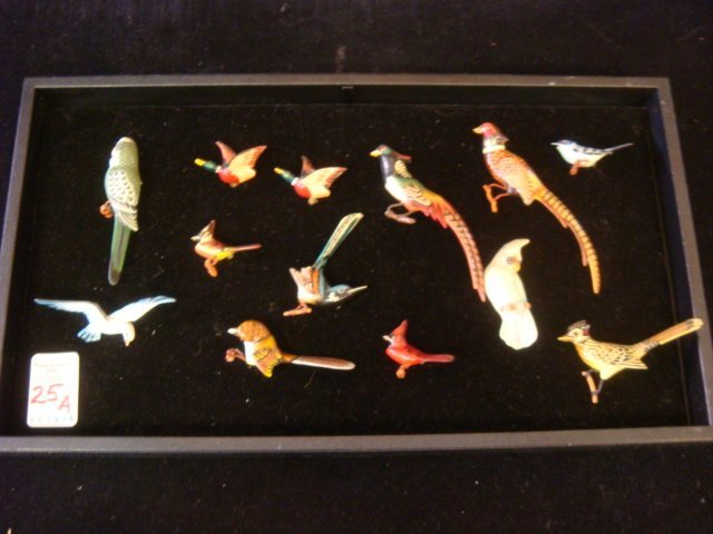 Thirteen Hand Carved TAKAHASHI Style Bird Pins: