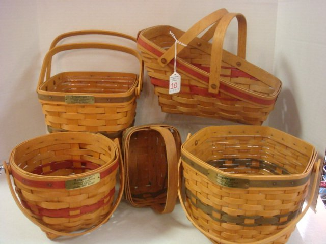Five Longaberger Christmas Collection Baskets: