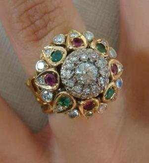 18KT Yellow Gold Diamond, Emerald and Ruby Dome Ring: