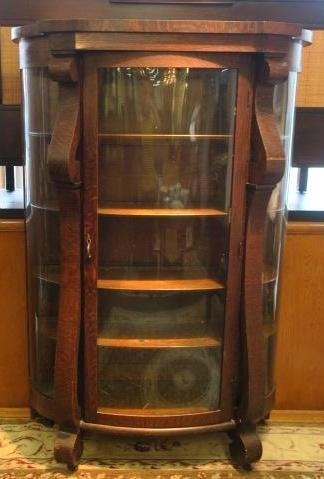 Oak Curved Glass China Cabinet: