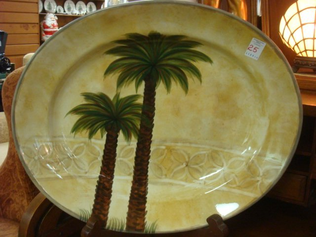 Large BELLAGIO Hand Painted Ceramic Oval Palm Platter: