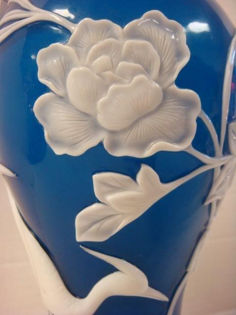 White Over Blue Chinese Peking Glass Vase: - 2