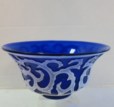 Peking Cobalt Center Bowl with Pearl Overlay: