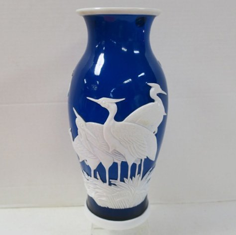 Blue and White Peking Glass Vase with Cranes: