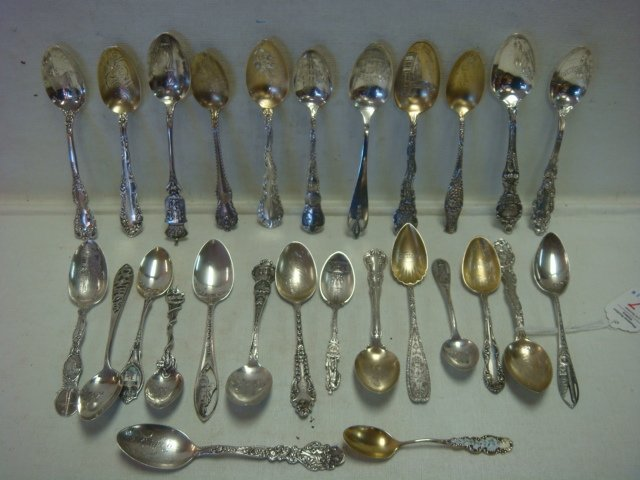 Twenty Six Sterling Silver Collector Spoons: - 6