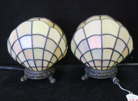 Pair of Slag Glass Open Clam Shell Accent Lamps: