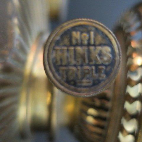 Brass Banquet Lamp, No. 1 Hinks Triple Burner Knob: - 2