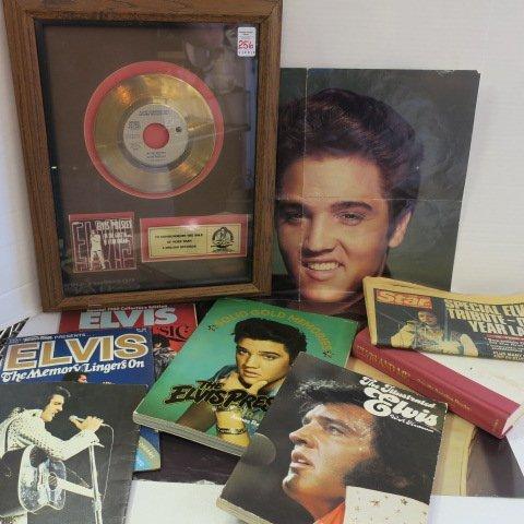 ELVIS PRESLEY Memorabilia, Gold Record, Book & Poster: